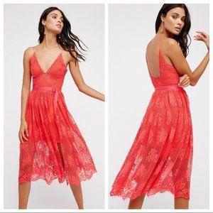 NWT Free People Match Point Midi Dress Watermelon